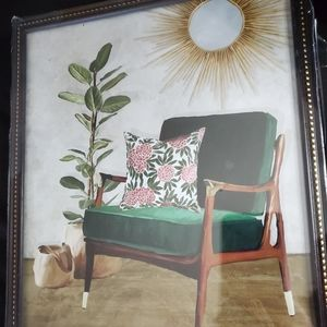 Watercolor painting of a gorgeous green chair